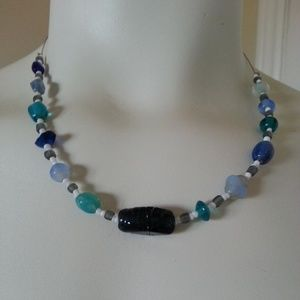 NWOT Handmade Glass Beaded Boho Necklace